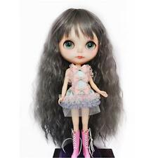 Long Cosplay Grey Wig Hairpiece for 1/6 Blythe Dolls Making w/ Curly Hair #1