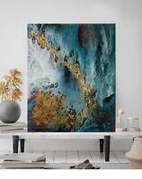 Tableau peinture acrylique sur toile abstrait - G