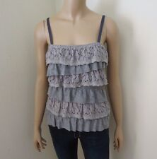 Abercrombie Womens Ruffle Floral Lace Tank Top Size XS Shirt Gray Cami