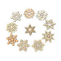 10 Assorted Wooden Snowflake Laser Cut Christmas Tree Hanging Decor Ornament DSU