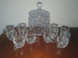 Glas-Bowleservice mit Deckel für 12 Personen mit Schliff