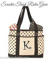 Personalized black polka dot tote shopping diaper beach bag monogram baby anchor