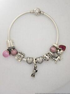 Genuine Pandora Horse Liberty Present Heart Sterling Silver Charm Bracelet
