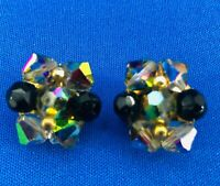 Vintage Cluster Glass Bead & Crystal Clip On AB Earrings Black Silver Tone