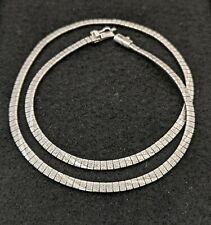 Diamond Cut Twist Pattern Sterling Silver Omega Flat Chain Necklace .F60