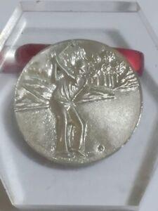 Vintage Or Old Pewter medal paperweight Golf