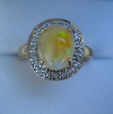 1.75ct Rare Indonesian Black Opal & White Sapphire Portrait Gold Ring