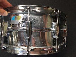 "Ludwig Supraphonic Olive & Blue 6""x14"" Snare Drum 1970's Chrome Over Aluminum"