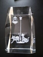 """Cats With Bird in Cage Clear 3D Etched Rectangular Block Paperweight 3"""" x 2"""""""