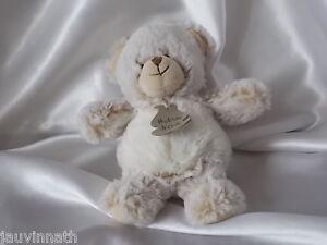 Doudou ours fourrure chiné marron clair, blanc, 20 cm, Histoire d'ours