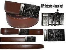 "Men's Belt. Size 30"" Leather Dress Belt. Auto Lock Crocodile Skin Printed Buckle"
