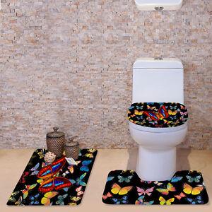 Black Fashion Butterfly 3pcs Bathroom Set Soft Toilet Covers Bathmat Carpet Rug