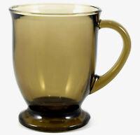 Vintage Glass Coffee Cup Mug Anchor Hocking Smoke Brown Stamped Tea Wedding Gift