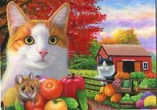New listing Aceo Orange White Tabby Cat Mouse Autumn Vegetable Garden Farm Tomato Painting