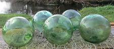 "Japanese Glass Fishing Floats 4-4.5"" Lot-5 Sea Green RARE HUE Authentic Vntg!"