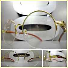 CLASSY Vintage Retro Style Clear Lens EYE GLASSES Round Gold Wood Wooden Frame
