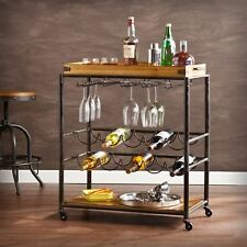 Vintage Rolling Wood Iron Metal Beverage Bar Serving Cart Drink Tray Wine Cart