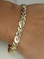 14K Hugs and Kisses link Bracelet Yellow Gold Rose Gold Fine Jewelry Bright cut