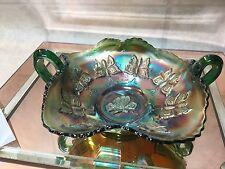 Fenton Green 'Butterfly' Carnival Glass 2 Handled Bon Bon- Sawtooth Edge