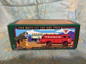 ERTL 1996 TEXACO 1949 WHITE 3000 TILT CAB TANK TRUCK COIN BANK, SERIES #13 NEW