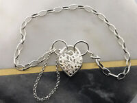 GENUINE SOLID HEART PADLOCK Dangle Lady Charm Bracelet - 925 Sterling Silver