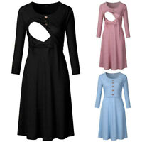 Autumn New Women Pregnant Maternity Nursing Casual Solid Tunic Long Sleeve Dress