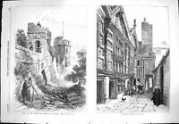 Antique Old Print *3267 1869 Prince Wales Chester Water Tower Stanley Palace
