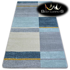 """AMAZING THICK MODERN SOFT RUGS """"NORDIC"""" blue squares floor carpet small large"""