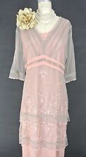 Downton Abbey Dresses Pink Nataya Dress M Lace Gatsby Formal Victorian Wedding