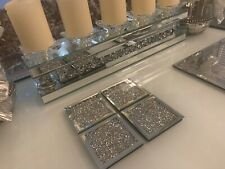 Crushed Diamond Silver Mirror Square Drink Coasters Pack Of 4 Ready To Dispatch