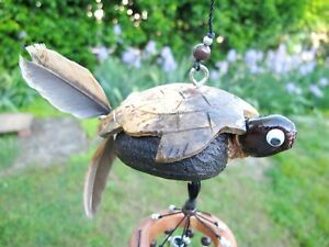 Handmade Hanging Wind Chimes Turtle Animal Spinner Outdoor Porch Patio Garden