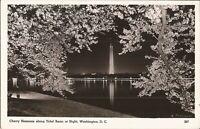 REAL PHOTO: Washington, D.C. - Cherry Blossoms along Tidal Basin at Night - 1944
