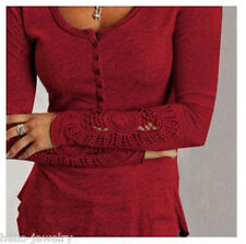 34-48 Damen Langarm Spitze Crochet Stretch Slim Blusen Shirt Top Bluse Longshirt