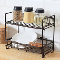 Double Tier Dish Drying Rack Stainless Steel Drainer Kitchen Storage Space Saver