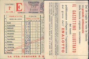R@R@ SCHEDA ENALOTTO CONCORSO N.1 DEL 26/07/1958 VALIDATA, BELLA