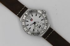 Tag Heuer WAU1113 Formula One F1 Watch Mens Grande Date White Brown Leather Band