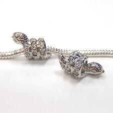 3 Beads - SMALL White Rhinestone Snake Silver European Bead Charm E1139