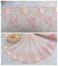 "7.5""*1Y Embroidered Floral Tulle Lace Trim~Light Pink+Gold Beige~Sweet Times~"
