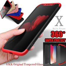 iPhone X Case 360° Full Body Slim Hybrid Hard Shockproof Cover + Tempered Glass