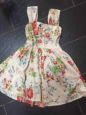 ULTRA PINK CREAM RED FLORAL BACKLESS SUMMER DRESS SIZE SMALL S 8/10
