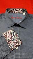 Robert Graham Men's Givens Blue Long Sleeve Paisley Flip Cuff Shirt NWT