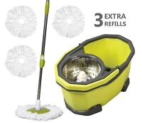 Bee Z Home Spin Mop Bucket System with 3 Free Extra Replacement Head