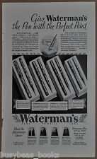 1932 WATERMAN Fountain Pen advertisement, 4 models, pen & pencil sets