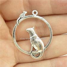 15214*20PCS Silver Vintage Mouse Cat Charm Pendant Connector Alloy Antique