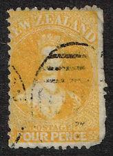 New Zealand 1865 #35 Yellow Chalon Wmk 6,Queen Victoria VFU