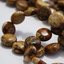 10 Picture Jasper Beads Coin / Disc  12mm Semi Precious Gemstone