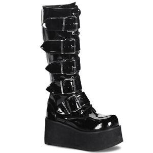 Demonia TRASHVILLE 518 Boots Unisex Goth Punk Wedge Black Patent Knee Platform