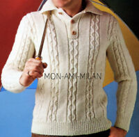 """KNITTING PATTERN To Make a MENS CHUNKY CABLE SWEATER Jumper PULLOVER 38-42"""" DK"""