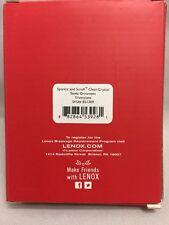 Lenox Sparkle & Scroll Clear Crystal Silver Plate Santa Christmas Ornament