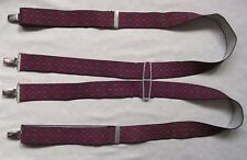 Braces Suspenders Mens Vintage CLIP ON 1980s CITY STOCKBROKER NAVY BURGUNDY